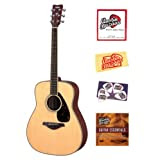 Yamaha FG720S Folk Acoustic Guitar Bundle with Instructional DVD, Strings, Pick Card, and Polishing Cloth - Natural...