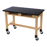 """NPS 48"""" Wood Science Lab Table with Book Compartments and Casters in Black - SLT1-2448CBC"""