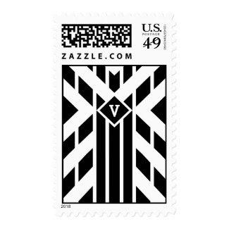 Black Quadrilateral Stripes with Monogram – Medium Postage Stamp