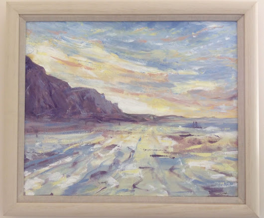 Beach at Sunset Acrylic painting by Louise Stebbing