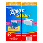 Ziploc Slider Storage Bags, Quart, 160 CT, Clear