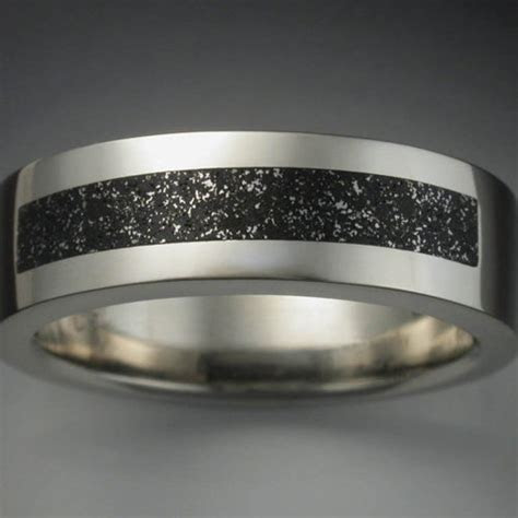 18k Palladium White Gold Ring with Meteorite