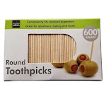 """Handy Housewares 600-Count Round 2.5"""" Long Wooden Toothpicks - Great for Appetizers, Baking and More!"""