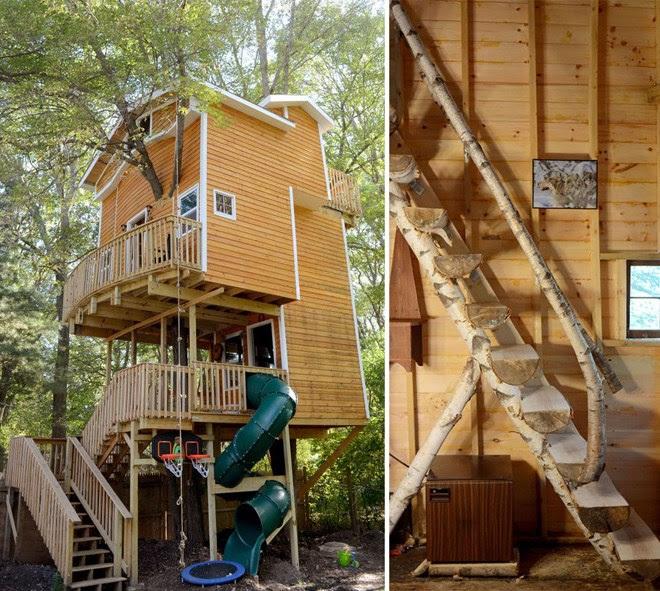 Ngôi nhà gỗ 3 tầng xây trên cây