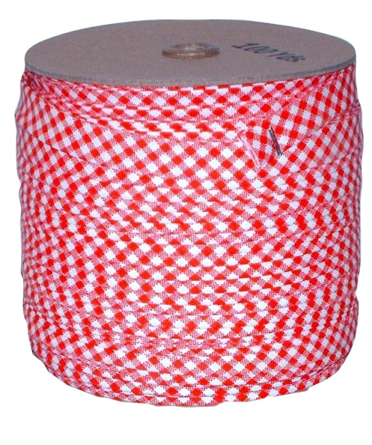Double Fold Bias Tape 1/2 Inch Wide-Red White Gingham-Cotton/Polyester-100 Yards
