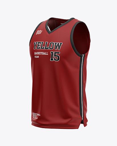 Download Free Men's V-Neck Basketball Jersey Mockup - Front Half ...