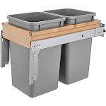 Rev-A-Shelf 4WCTM-15BBSCDM2 Double Soft-Close 27-Quart Top Mount Waste Container by VM Express