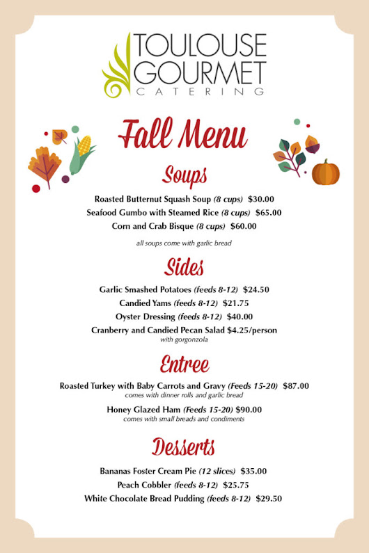 Fall 2017 Menu! - Toulouse Gourmet