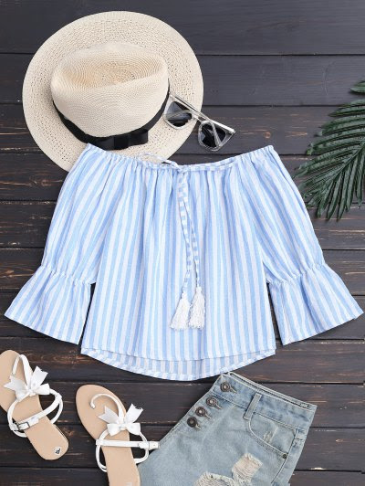 Zaful Tie Front Off Shoulder Striped Top