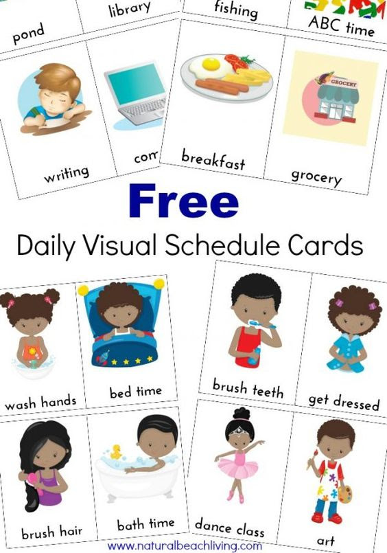 Extra Daily Visual Schedule Cards Free Printables | Horarios ...