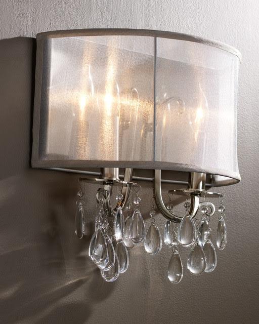 Hampton Polished Chrome Crystal Wall Sconce with Silver Silk ...
