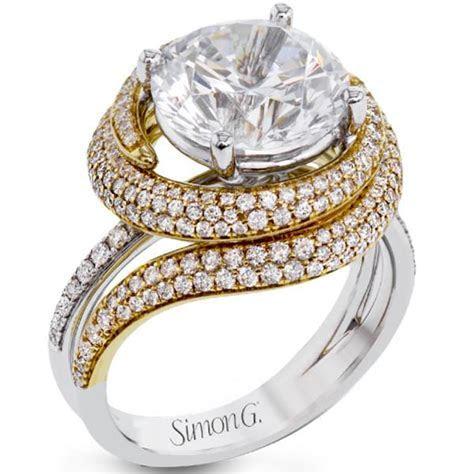 Simon G 18K Large Center Round Diamond Engagement Ring