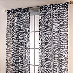 Zebra Print Black/ White Sheer 84-inch Curtain Panels | Overstock ...