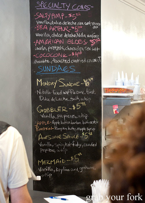 menu at big gay ice cream shop soft serve new york nyc usa