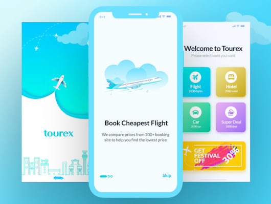 Tourex: Flight booking app design template - iDevie