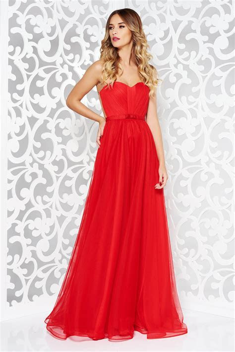 Ana Radu red occasional net dress push up cups