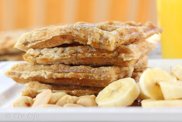 Peanut Butter Waffles, banana, waffles, peanuts