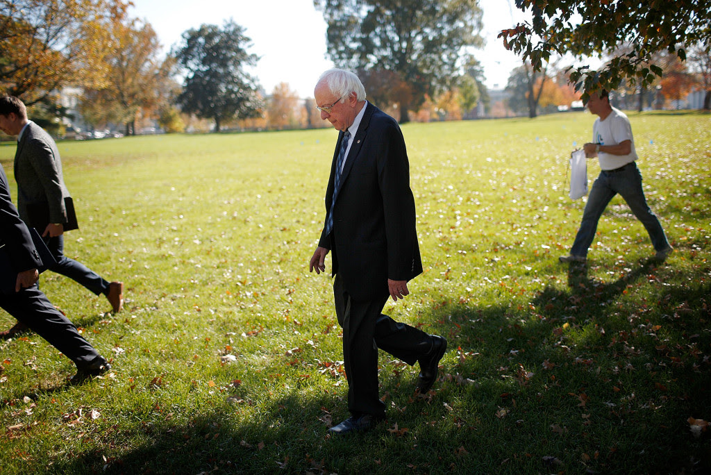 Democratic presidential candidate Sen. Bernie Sanders after a news conference on November 4, 2015 in Washington, DC.