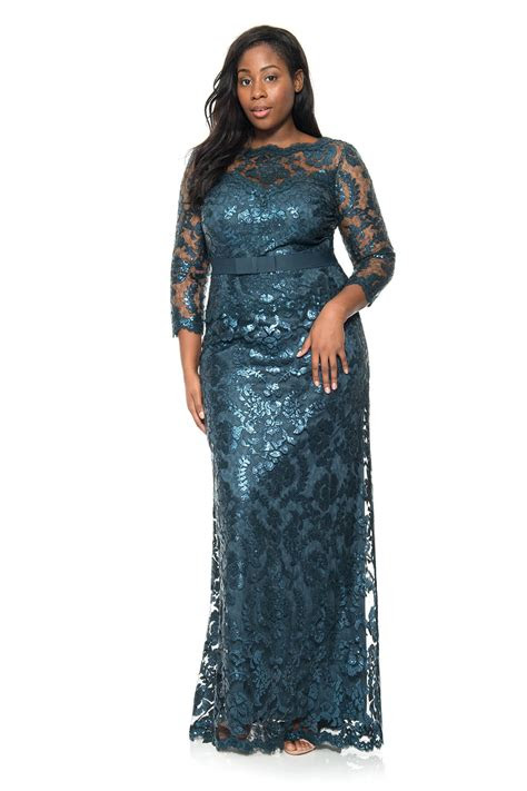 paillette embroidered lace sleeve gown  size
