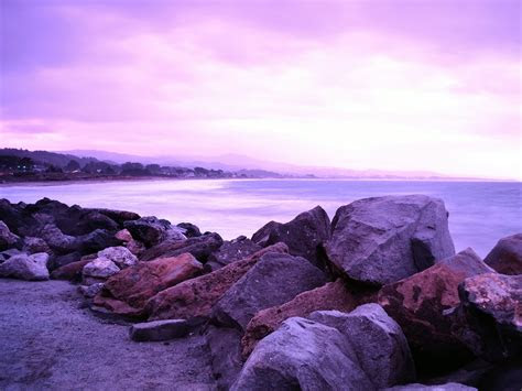 purple sky ocean stones wallpapers purple sky ocean