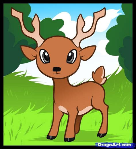 draw  deer  kids step  step animals