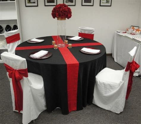 red white wedding table idea   shows white with red chairs