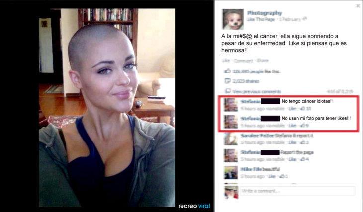 Suben foto de mujer diciendo que tiene cáncer, ella les dice que no tiene cáncer