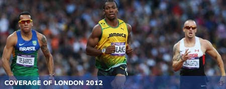 Jamaica's Yohan Blake in a qualifying heat of the 100-meter dash (Getty Images)