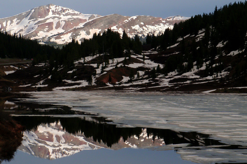 Alpine reflection while on a late afternoon training ride up Vail Pass.  The summit is just above the lake.