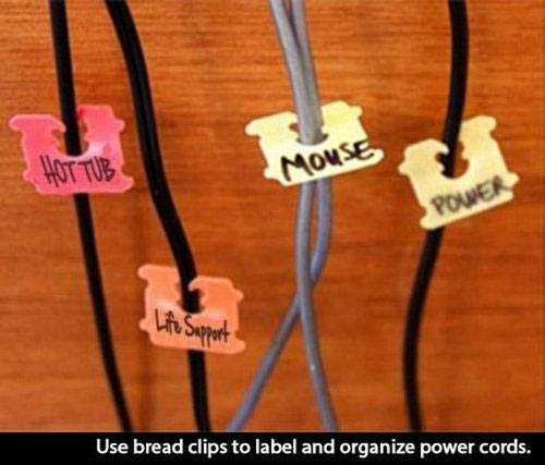 use bread clips to label and organize power cords