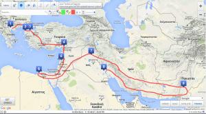 Απεικόνιση της πορείας του Μ. Αλεξάνδρου με τη χρήση του Scribblemaps