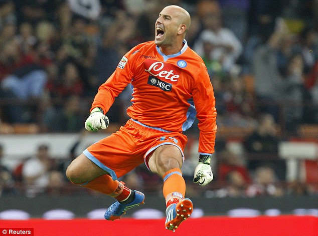 Combo breaker: Pepe Reina saved Balotelli's penalty, his first miss in 27 attempts