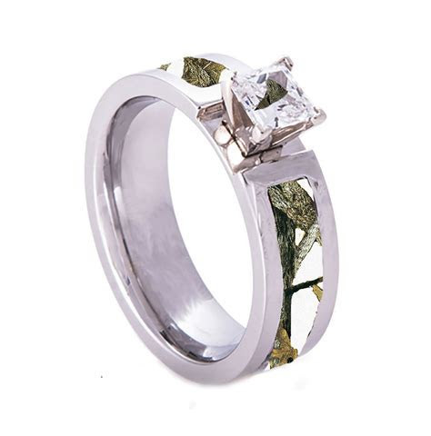 White Camo Wedding Engagement Ring Titanium with CZ Stone