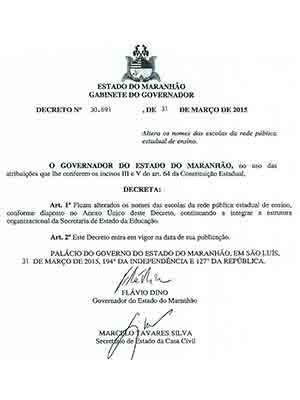 Decreto assinado pelo governador Flávio Dino (Foto: Reprodução G1)
