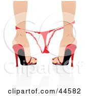 Clipart Illustration Of A Red Heels Her Red Thong Panties Hanging On Her Ankles by MilsiArt