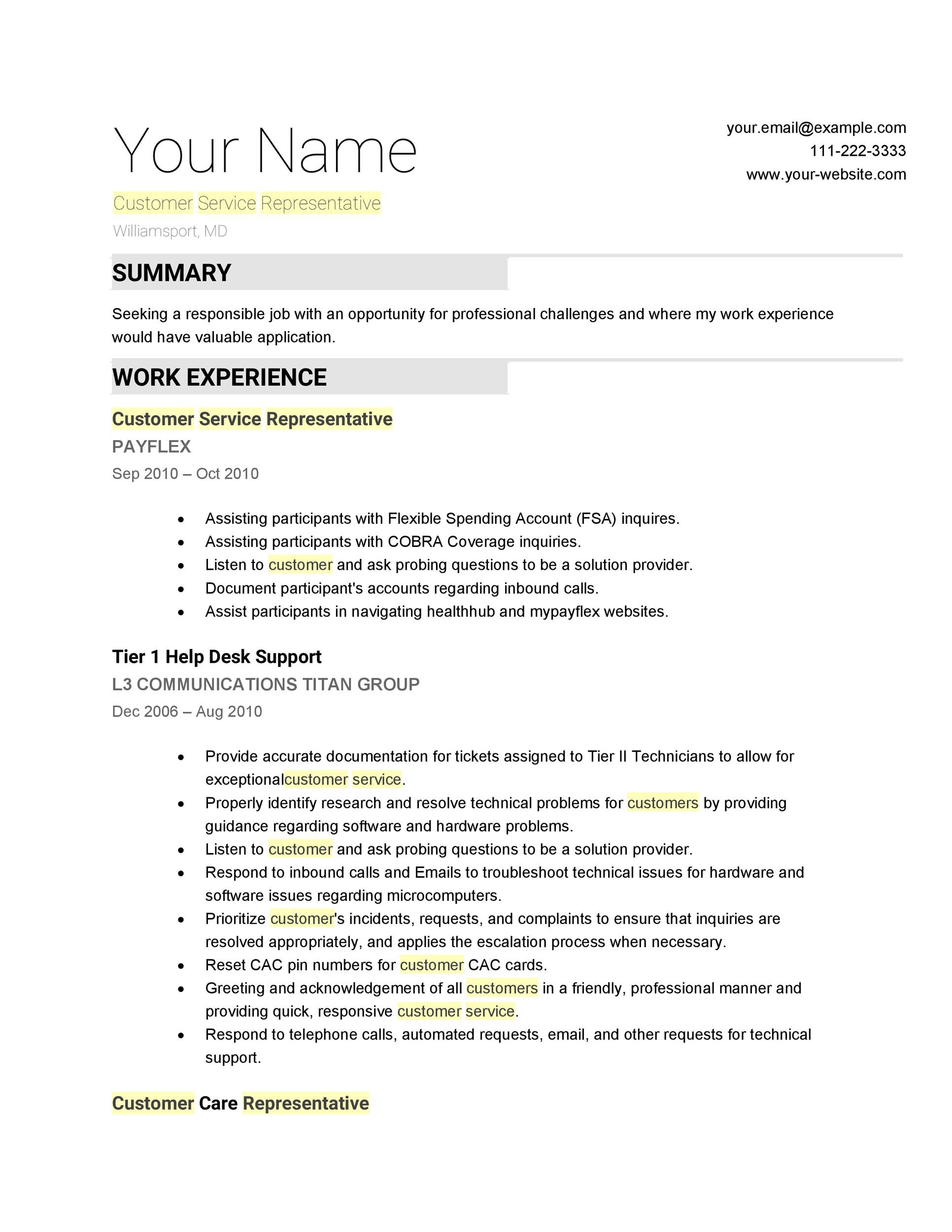 30+ Customer Service Resume Examples  Template Lab