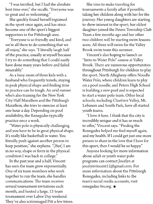 Feature article of player in the Peters Township magazine — Yeah Jocelyn! – Renegades Water Polo