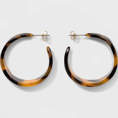Women's Wide Hoop Earrings - A New Day Tortoise, Size: Small, Brown