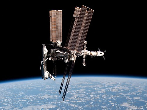 The International Space Station and the Docked Space Shuttle Endeavour by europeanspaceagency