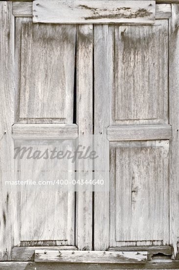 Old door of wooden was closed with grungy style. - Stock Photos