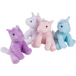 "7"" Plush Unicorns – 4-Pack Stuffed Unicorn Toy - Stuffed Animal with Silver Horns, for Kids Birthday Gift, Baby Shower Present, White, Pink, Purple,"