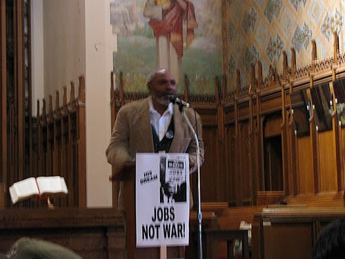 Abayomi Azikiwe, editor of the Pan-African News Wire, chairing the 8th Annual Detroit MLK Day Rally & March at Central United Methodist Church on Jan. 17, 2011. The event draws on Dr. King's anti-war and social justice legacy. (Photo: Alan Pollock) by Pan-African News Wire File Photos