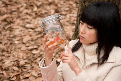 She (Rukino Fujisaki) looks at the goldfish