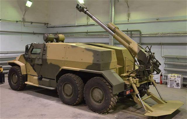 Una imagen suelta Lunes, 20 de enero 2014, en un blog militar rusa demuestra que Rusia desarrolla un nuevo sistema de artillería autopropulsada ligera basada en la luz 6x6 vehículo táctico Volk (Wolf en Inglés) VPK-39273 con un arma de 120 mm 2B16 Nona- K montado en la parte trasera del chasis.