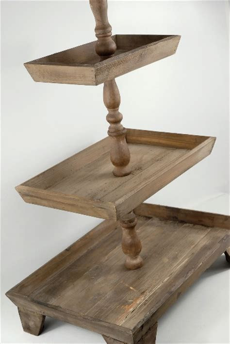 3 Tier Rustic Wood Stand (Set of 2) 35in   Counter display