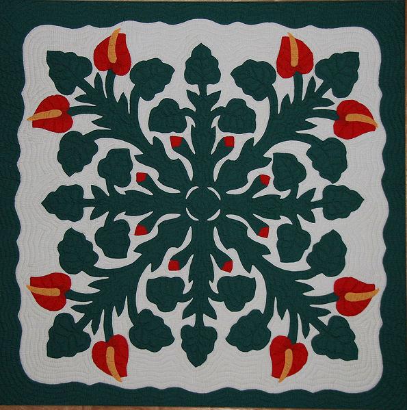 File:Hawaiian Applique Quilt 2.jpg