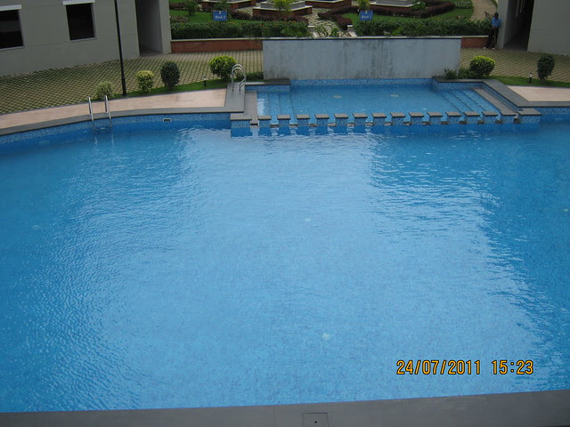 "Swimming Pool from the terrace of the club hosue of Sobha Carnation - on the day of launch of ""Sobha Garnet - 3 BHK & 4 BHK Flats"" - off NIBM Road -  at Kondhwa - Pune"
