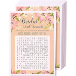 Floral Bridal Shower Games - Word Search Puzzle, 50 Sheet Rustic Wedding Game Cards, Party Supplies for Bachelorette Party and Wedding, 50 Vintage