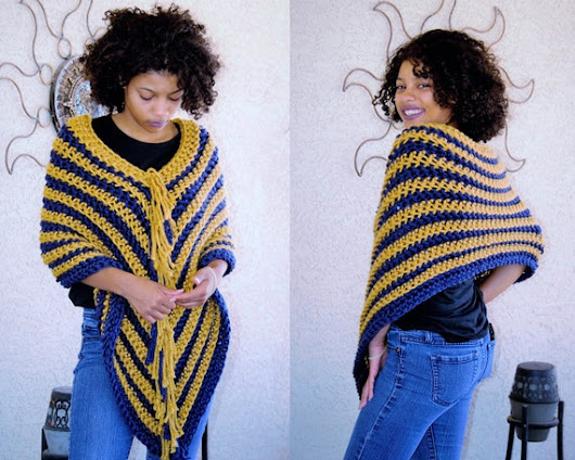 Gold and Blue PONCHO/ Crochet Poncho/ Fringed Colorful Poncho/