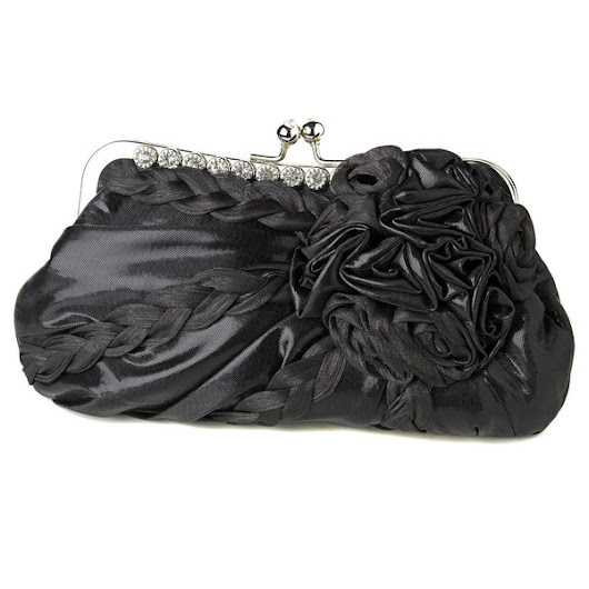 * Braided Ruffle Floral Rhinestone Evening Bag 328 with Silver Frame & Shoulder Strap
